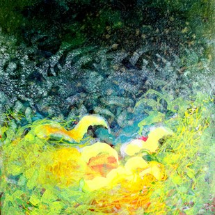 Metaphysical Sentiment by Ratnakar Ojha, Abstract Painting, Mixed Media on Paper, Green color