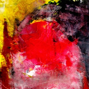 Metaphysical Sentiment II by Ratnakar Ojha, Abstract Painting, Oil on Paper, Red color