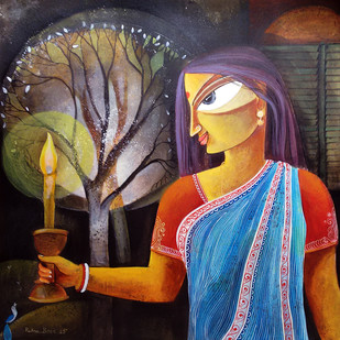 Woman With Candle by Ratna Bose, Decorative Painting, Acrylic on Paper, Brown color