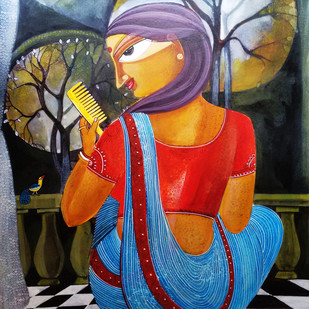 Woman With Comb by Ratna Bose, Decorative Painting, Acrylic on Board, Brown color