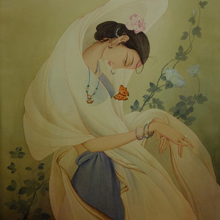 Women with Butterfly by Rajib Gain, Realism Painting, Watercolor Wash on Paper, Brown color
