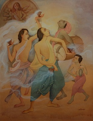 Festival Dance by Rajib Gain, Realism Painting, Watercolor Wash on Paper, Brown color