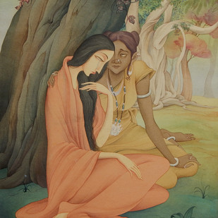 Sita & Sarama by Rajib Gain, Realism Painting, Watercolor Wash on Paper, Brown color