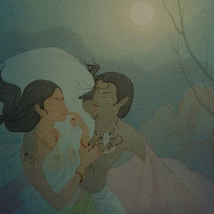 Moon Beam by Rajib Gain, Realism Painting, Watercolor Wash on Paper, Green color