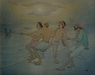 Fishermen by Rajib Gain, Realism Painting, Watercolor Wash on Paper, Green color