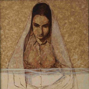 Still and Silent - Lady by C F John, Expressionism Painting, Mixed Media on Canvas, Brown color