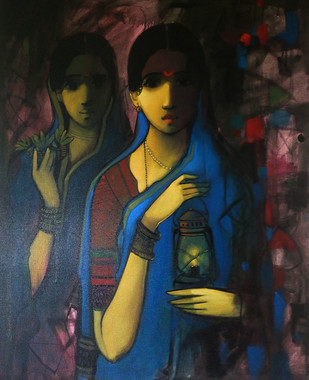 Women with Light by Sachin Sagare, , , Blue color
