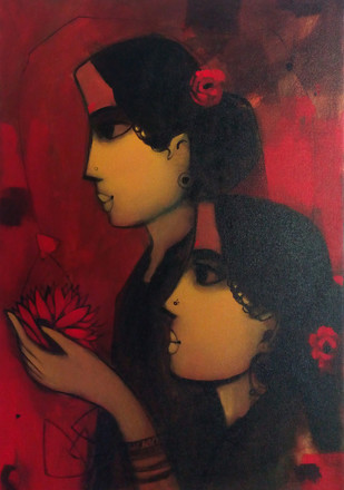 Flower Offering by Sachin Sagare, Painting, Acrylic on Board, Brown color