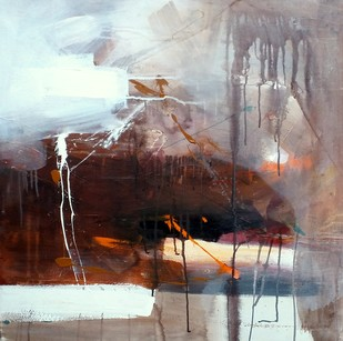 The Day in Heaven by Gulrez Ali, Abstract Painting, Acrylic on Canvas, Brown color