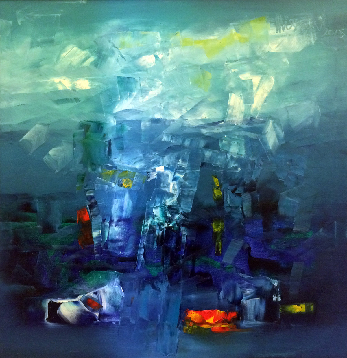Blue Waters by Viswam, Abstract Painting, Oil on Canvas, Blue color