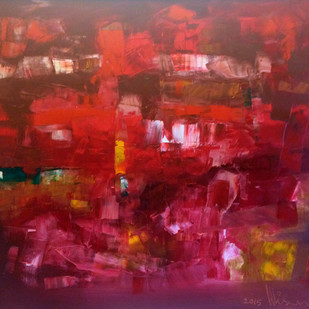 Red Melange by Viswam, Abstract Painting, Oil on Canvas, Brown color