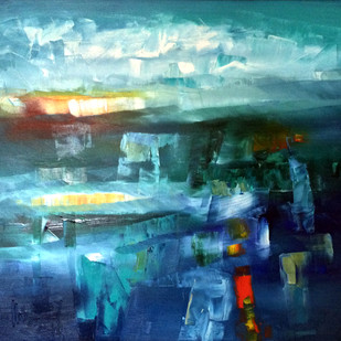 The Blue Ledge by Viswam, Abstract Painting, Oil on Canvas, Cyan color
