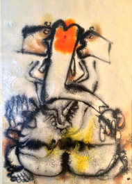 Ganesha by Manohar Natarajan, Impressionism Painting, Mixed Media on Paper, Beige color