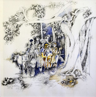Village Folk Scene by Manohar Natarajan, Painting, Mixed Media on Paper, Gray color