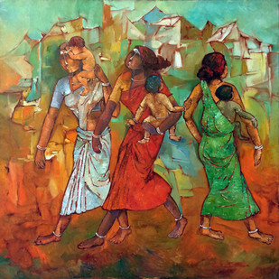 Village Women with Kids by Pon Ragunathan, Painting, Oil on Canvas, Brown color