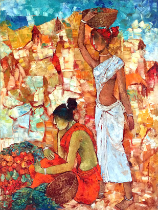 Village Fruit Seller by Pon Ragunathan, Painting, Oil on Canvas, Brown color