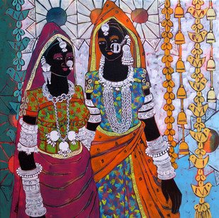 Ethnic Serendipity 48 by Anuradha Thakur, Traditional Painting, Acrylic on Canvas, Brown color