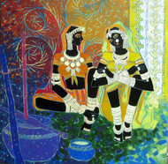 Serene Harmony 47 by Anuradha Thakur, Traditional Painting, Acrylic on Canvas, Brown color