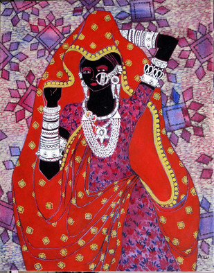Serene Harmony 19 by Anuradha Thakur, Traditional Painting, Acrylic on Canvas, Red color