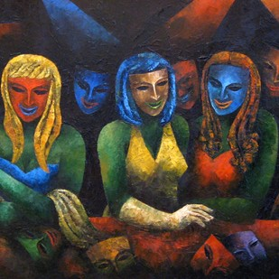 Mask by Rupak Goswami, Painting, Oil on Canvas, Brown color
