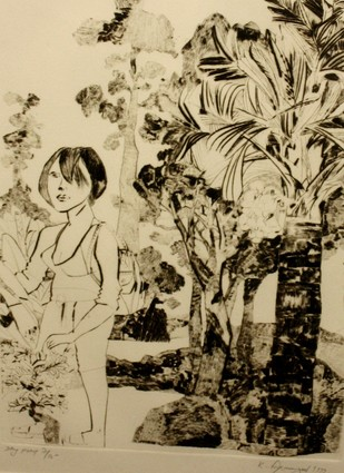 Untitled by Laxma Goud, Illustration Printmaking, Etching on Paper, Beige color