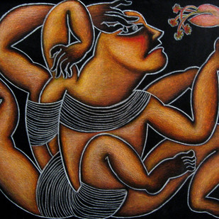 Untitled by Tanup Nath, Conceptual Painting, Acrylic on Canvas, Brown color