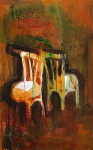 Mirror by P Shivani Bharadwaj, Impressionism Painting, Acrylic on Board, Brown color