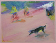 Letter from City Dog by Miran Rin, Impressionism Painting, Oil on Paper, Brown color