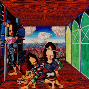 Arrival of the In-Laws by Andrew Radkowsky, Conceptual Painting, Mixed Media on Canvas, Brown color