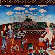 Gae0857 andrew radkowsky 32in x 40in mixed media on canvas 2012 women in the kitchen