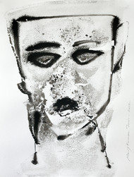 Self Portrait I by Manoj Jain, Impressionism Drawing, Pen & Ink on Paper, Gray color