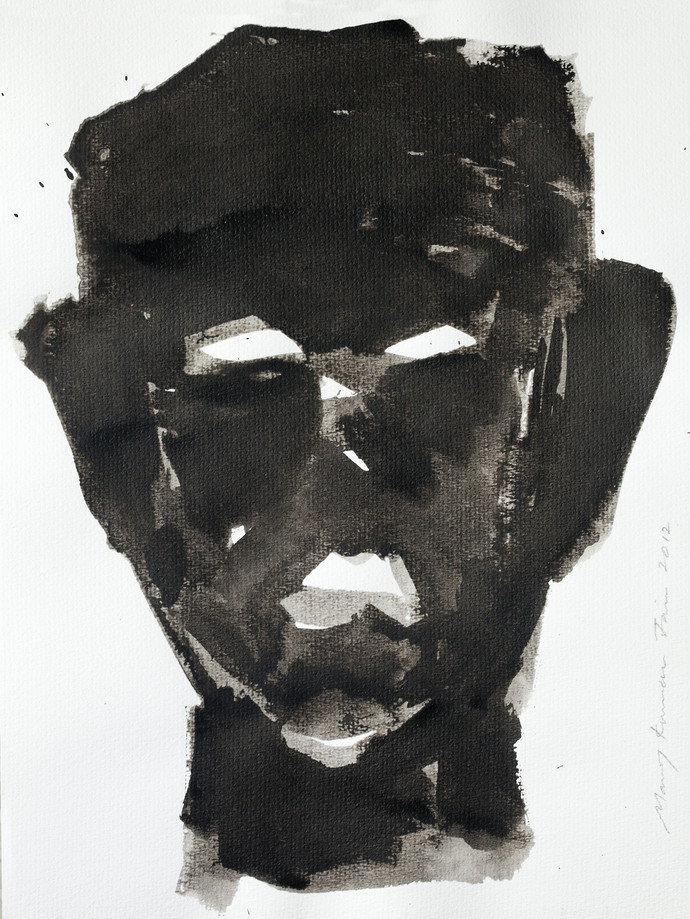 Self Portrait II by Manoj Jain, Impressionism Drawing, Pen & Ink on Paper, Gray color