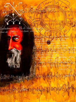 Time will Tell by P Shivani Bharadwaj, Conceptual Painting, Mixed Media on Canvas, Orange color
