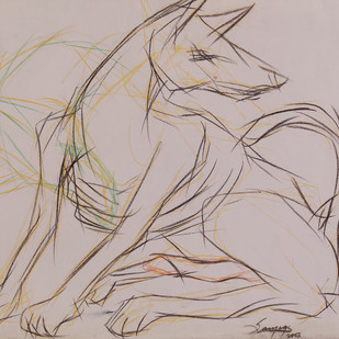 Dog II by Sourareya Chakraborty, Illustration Drawing, Mixed Media on Paper, Beige color