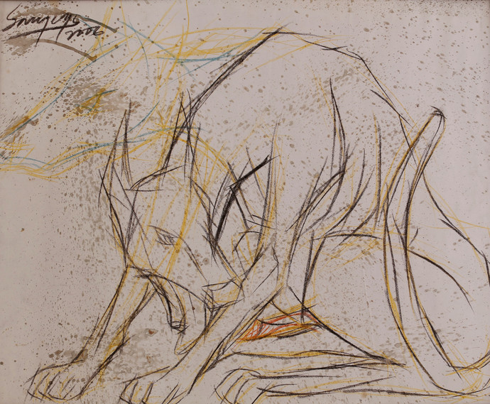 Dog I by Sourareya Chakraborty, Illustration Drawing, Mixed Media on Paper, Beige color