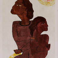 Gae0928 sukanta biswas 36in x 20in wood cut print on paper 2009 destination of love