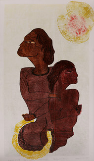 Destination of Love by Sukanta Biswas, Conceptual Printmaking, Wood Cut on Paper, Brown color