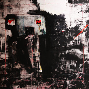 Old Wall by Aditya Sagar, Abstract Painting, Mixed Media on Canvas, Gray color