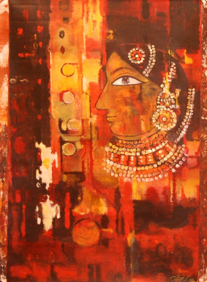 Untitled by Gita Hudson, Decorative Painting, Oil on Canvas, Brown color
