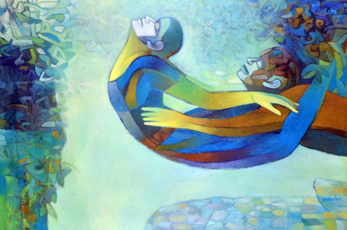 Flying Couple by Brajmohan Arya, Fantasy Painting, Acrylic on Canvas, Cyan color