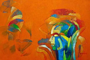 Introspection II by Brajmohan Arya, Fantasy Painting, Acrylic on Canvas, Orange color