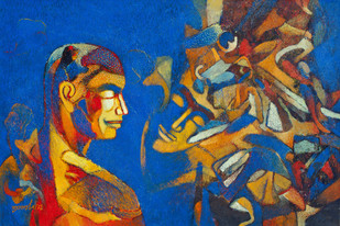 Soulmate by Brajmohan Arya, Fantasy Painting, Acrylic on Canvas, Blue color