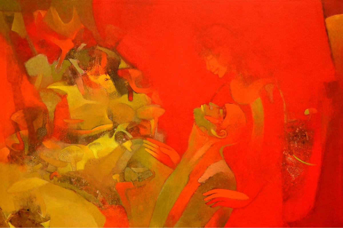 Introspection V by Brajmohan Arya, Fantasy Painting, Acrylic on Canvas, Red color