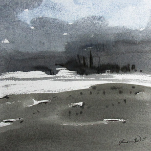 Landscape by Asim Paul, Impressionism Painting, Watercolor on Board, Gray color