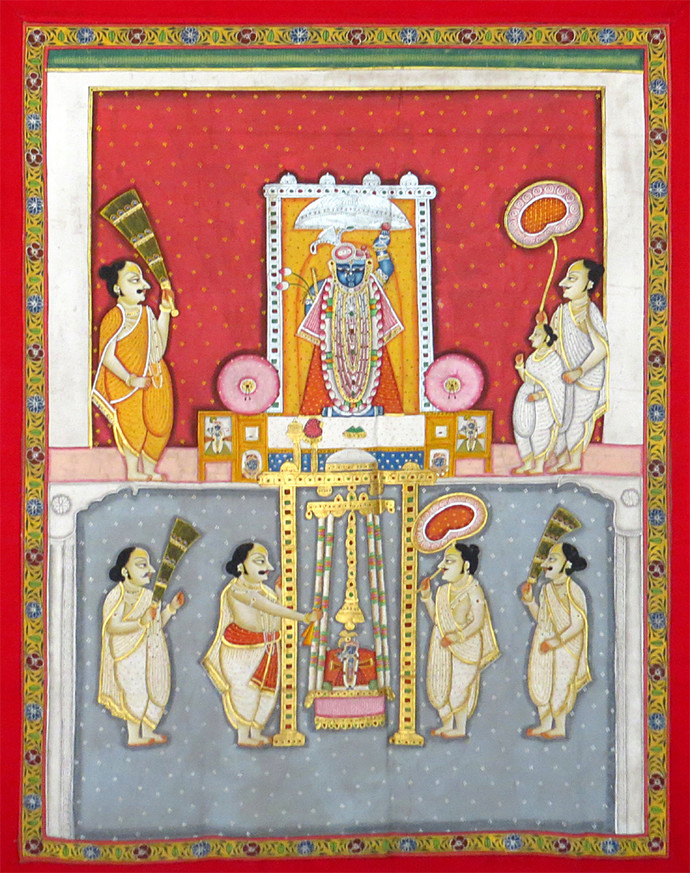 Shrinaathjee by Unknown Artist, Painting, Stone Colour on Cloth, Brown color