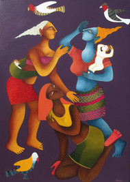 Indian Travels by Nitai Das, Decorative Painting, Acrylic on Canvas, Brown color