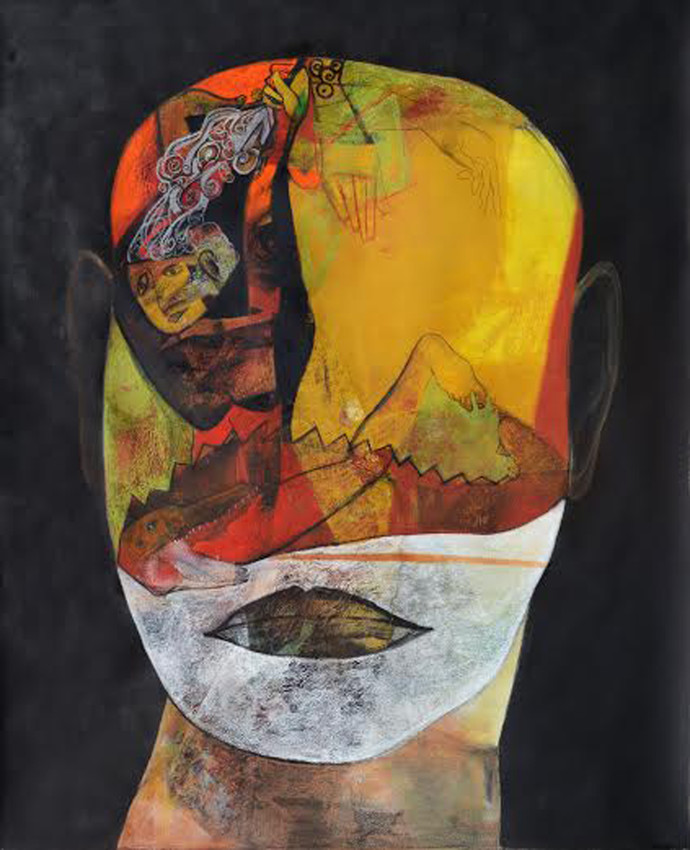 Lust 1 by Atanu Mukherjee, Painting, Mixed Media on Paper, Gray color