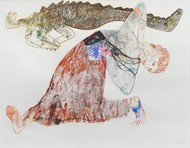 Lust 2 by Atanu Mukherjee, Conceptual Painting, Mixed Media on Paper, Gray color