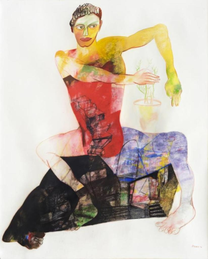 Objection by Atanu Mukherjee, Conceptual Painting, Mixed Media on Paper, Gray color
