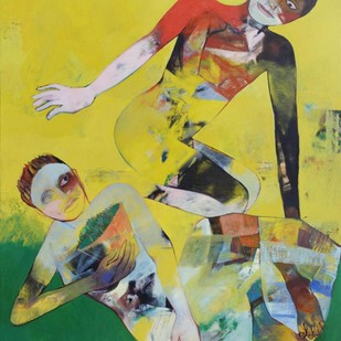 Lust 3 by Atanu Mukherjee, Pop Art Painting, Oil on Canvas, Beige color